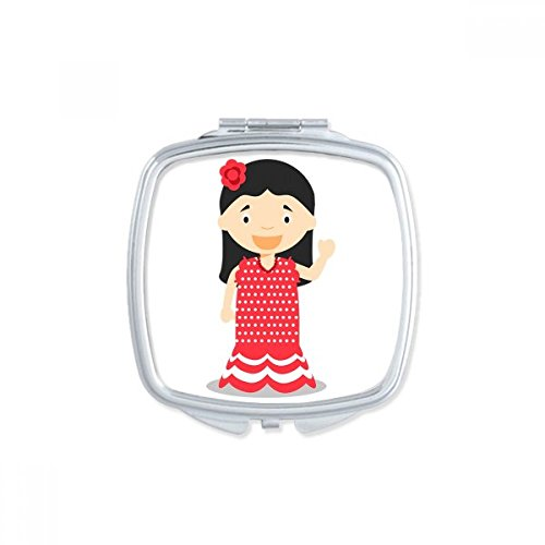 DIYthinker Flower Red Dress Spain Cartoon Square Compact Makeup Pocket Mirror Portable Cute Small Hand Mirrors Gift by DIYthinker