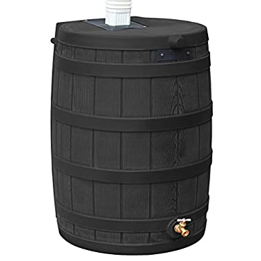 Good Ideas RW50-BLK Rain Wizard Rain Barrel 50-Gallon, Black