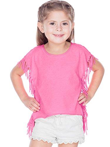 Kavio! Girls 3-6X Sheer Jersey Raw Edge Side Fringe Asymmetrical Cap Sleeve Croptop Pink Flash 5/6