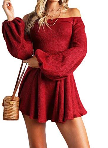 Les Femmes Domple Mini-partie Évasée Feuilletée Manches Longues Rouge Au Large Robe D'épaule