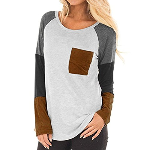 iYBUIA Women Ladies O-Neck Pocket Patchwork Shirt Long Sleeve Casual Shirt Tops Blouse(Gray,XXL) (Order Spring Catalogs)