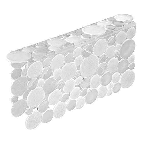 (mDesign Decorative Plastic Kitchen Sink Saddle - Divided Sink Protector Mat, Place Over Middle Section - Quick Draining, Fun Bubble Design - Clear)