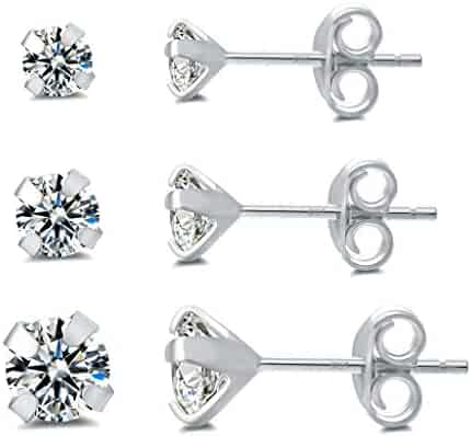 2b94b5328 Small Sterling Silver Stud Earrings 14K Rose Gold Plated Hypoallergenic  Tiny Cubic Zirconia Earring Set for