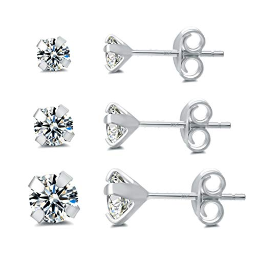 (RoseJeopal 925 Sterling Silver Small Stud Earring- 14k White Gold Plated Tiny Cubic Zirconia Hypoallergenic Earrings Sets (3mm/4mm/5mm) (Silver))