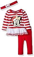 Disney Baby Girls' Minnie Mouse Holiday 3-Piece Tutu Legging Set, Stripe True red, 0-3 Months