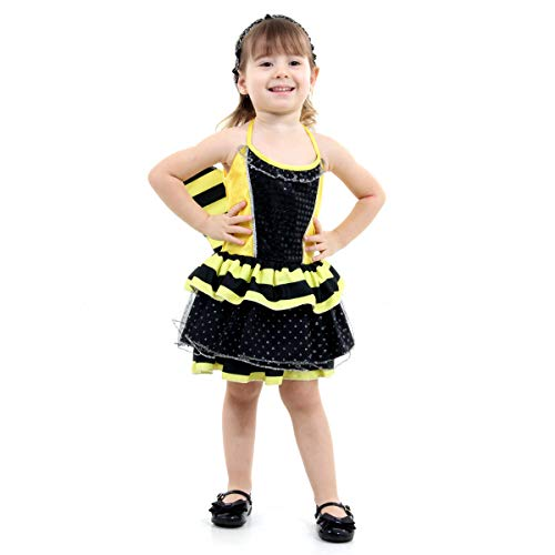 Fantasia Abelhinha Bebê Luxo Sulamericana Fantasias Preto/Amarelo G 3 Anos
