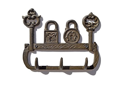 (gasare, Key Hooks, Cast Iron Key Holders, Decorative Locks and Keys Rustic Design, 6 x 7 ½ inches, Cast Iron, Brown, Screws and Anchors, 1 Unit)