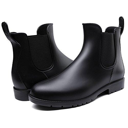 Odema Femmes Bottes De Pluie Cheville Haute Étanche Chaussures Élastique Glisser Sur Bottillons Chelsea 2black