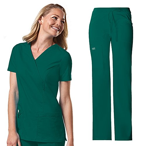 Cherokee Workwear Womens 4728 V-neck Top Mock Wrap & 24001 Drawstring Flared Leg Comfort Pant Medical Uniform Scrub Set Top & Pants + FREE GIFT (Hunter - X-Small)
