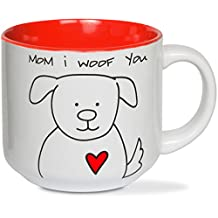 Blobby Dog Pavilion Gift Company 37134 -Mom I Woof You Ceramic Coffee Mug, Red
