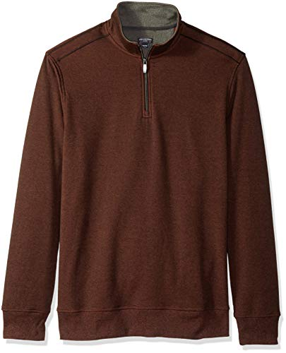 Van Heusen Men's Size Big and Tall Flex Fleece Long Sleeve Quarter Zip, red picante, 4X-Large Tall