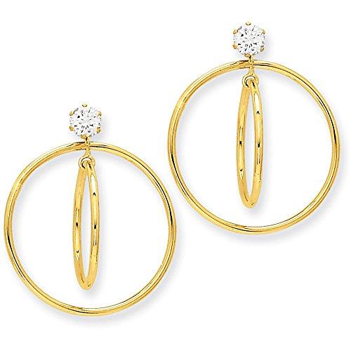14k Gold Polished Double Hoop Dangle Jackets for Stud Earrings (1.14