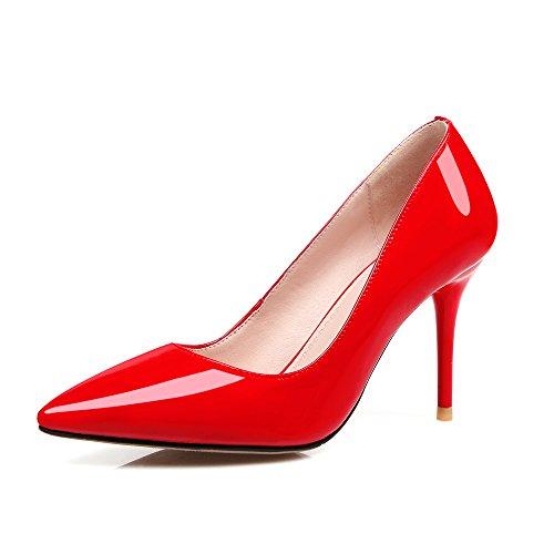 Nine Moda de Puntiagudos Tacones Rojo Seven para Trabajo Mujer de Aguja Cuero rFEr1