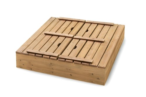 046605999882 - Badger Basket Covered Convertible Cedar Sandbox with Bench Seats, Natural carousel main 2