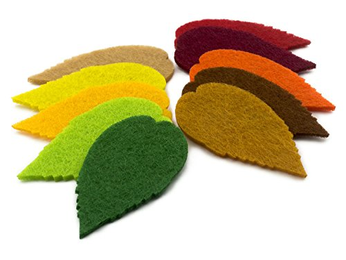 Summer-Ray 100pcs felt leaves laser cutout embellishment in 10 colors