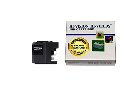 HI-VISION Compatible Brother LC203 XL High Yield Black ink cartridge replacement for MFC-J4320DW,J4420DW,J4620DW,J5520DW,J5620DW,J5720DW Color printer 1-pack LC203BK