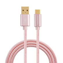 USB Type C Cable,CableCreation 1.6FT Braided Type C (USB-C) to standard USB A Cable for Nexus 5X /6P, OnePlus, LG G5,the New Macbook 12-inch, Google ChromeBook Pixel, Lumia 950/950XL & More, Rose Gold[New Version 56K Ohm Resistance]