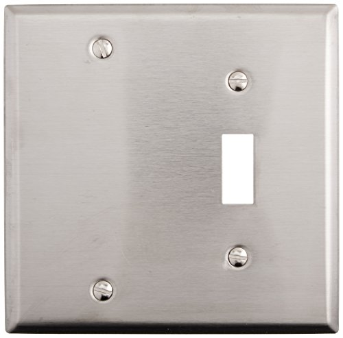 Morris 83410 430 Wall Plate, 2 Gang with 1 Blank, 1 Toggle, Stainless Steel