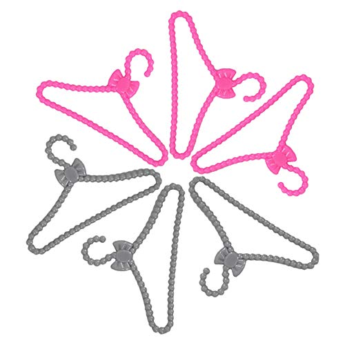 E-TING 60 Pcs Plastic Little Hangers for Girl Doll Dress Clothes Gown Doll Clothes Accessories
