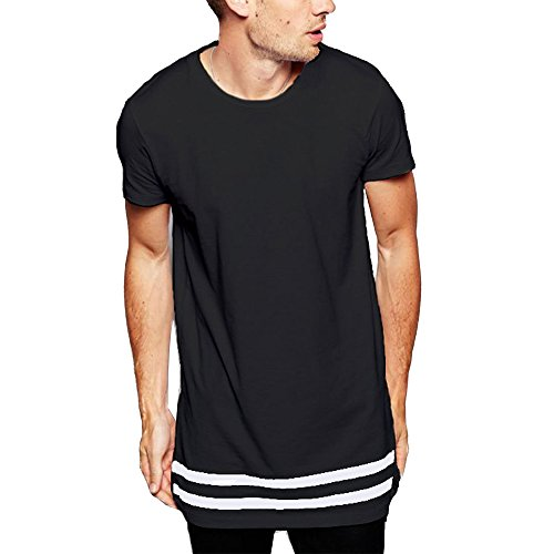 LIWEIKE Men t Shirt Extended Longline Hipster Tshirt with Striped Hem (Large, ()