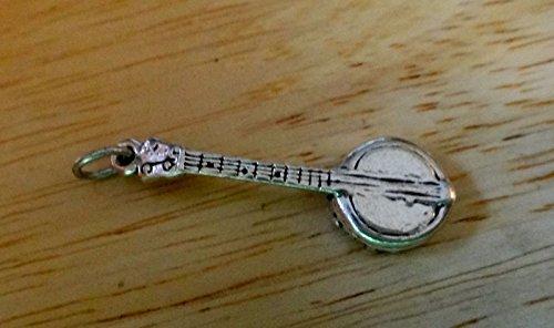 (Sterling Silver 30x10mm 4 String Banjo Music Instrument Charm Pendant)
