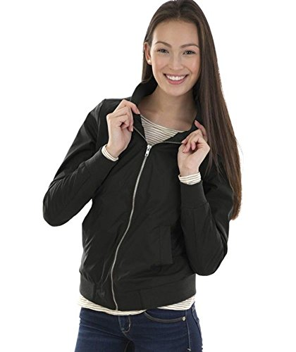 l Women's Boston Flight Jacket, Black, L (Bomber Black Apparel)