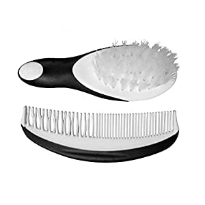 Cradle Cap Brush and Comb Set - Infant Baby Boys Girls Perfect Shower Gift - Black and White