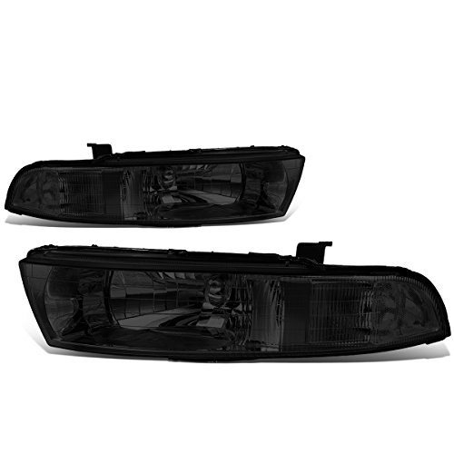 For Mitsubishi Galant 6th Gen Pair of Smoked Lens Clear Corner Headlights Lamp ()