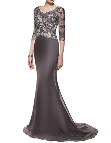 Udresses Womens Scoop Neck Lace Evening Dress 1/2 Sleeve Formal Wedding Gown MM6 Silver Gray 8 ()