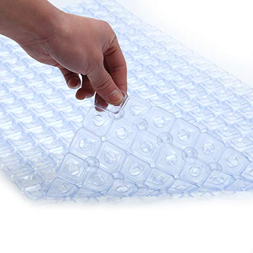 Original Soft Bath Tub Shower Mat 27.5 X 15.7, Non-Slip with Big Drain Holes, Suction Cups, Machine Washable, Bathroom Mats, Smooth/Non-Textured Surface Only (Clear, 27.5 X 15.7 Inch)