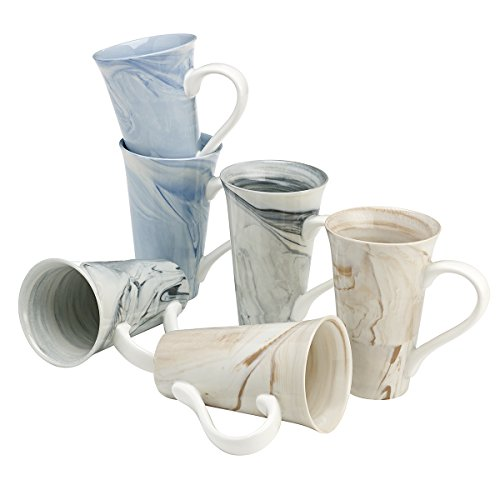 overandback 814701 Marble Finish Latte Mug Set of 6, Assorted Colors, Marble Swirl Finish