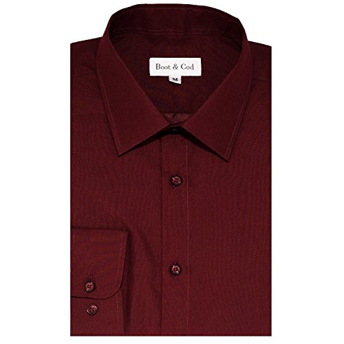 Boot & Cod Men's Shirts - Solid Slim Fitted Long Sleeve Button Down Dress Shirt for Men - 4'' Semi-Spread Collar, Tapered Sleeves, Slim Fit, Single-Barrel Rounded Cuffs - Small Burgundy