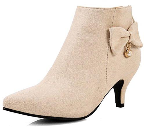 Summerwhisper Women's Elegant Faux Suede Bowknot Pointed Toe Bridal Booties Back Zipper Kitten Heel Ankle Boots Shoes
