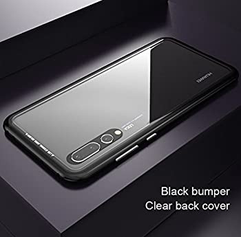Huawei P20 Pro Case KumWum Slim Aluminum Metal Bumper Case Magnetic Adsorption Tempered Glass Back Cover Phone Case for P20 Pro (Huawei P20 Pro, Clear Back + Black Frame)