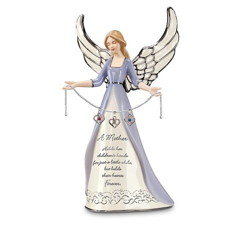 A Mother s Heart Birthstone Charm Angel Figurine Personalized Gift for Mom by The Bradford Editions