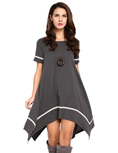 Meaneor Womens Irregular Asymmetrical T Shirt