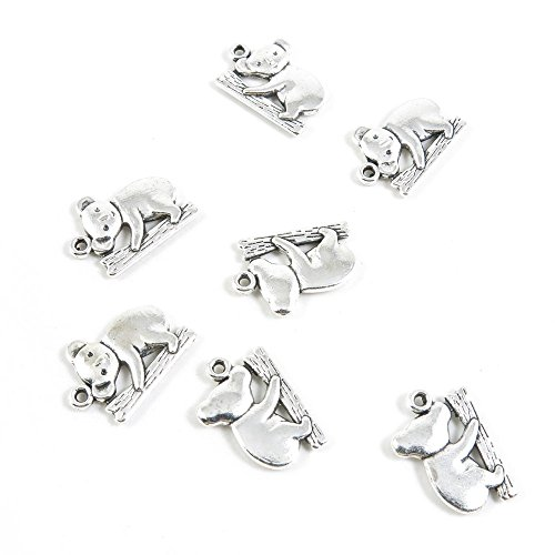 80 Pieces Antique Silver Tone Jewelry Making Charms Findi...