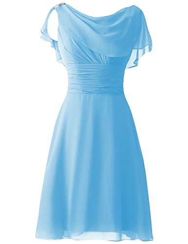 Cdress Women's Short Chiffon Bridesmaid Dresses Sequins Cap Sleeves Prom Formal Gowns US 2