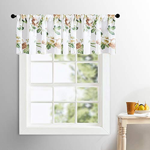 MRTREES Valances Sheer Curtains 16 inch Length Brown Floral Print Cotton Blend Valance Leaf Flower Printed Living Room Bedroom Window Treatment Rod Pocket 1 Panel