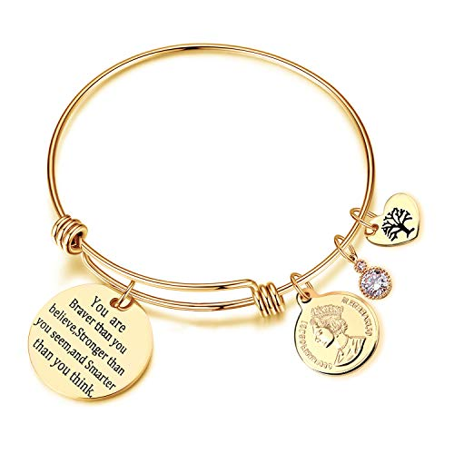 EGOO YAMEE You are Braver Than You Believe Stainless Steel Heart Bracelets for Women Girls(Gold)