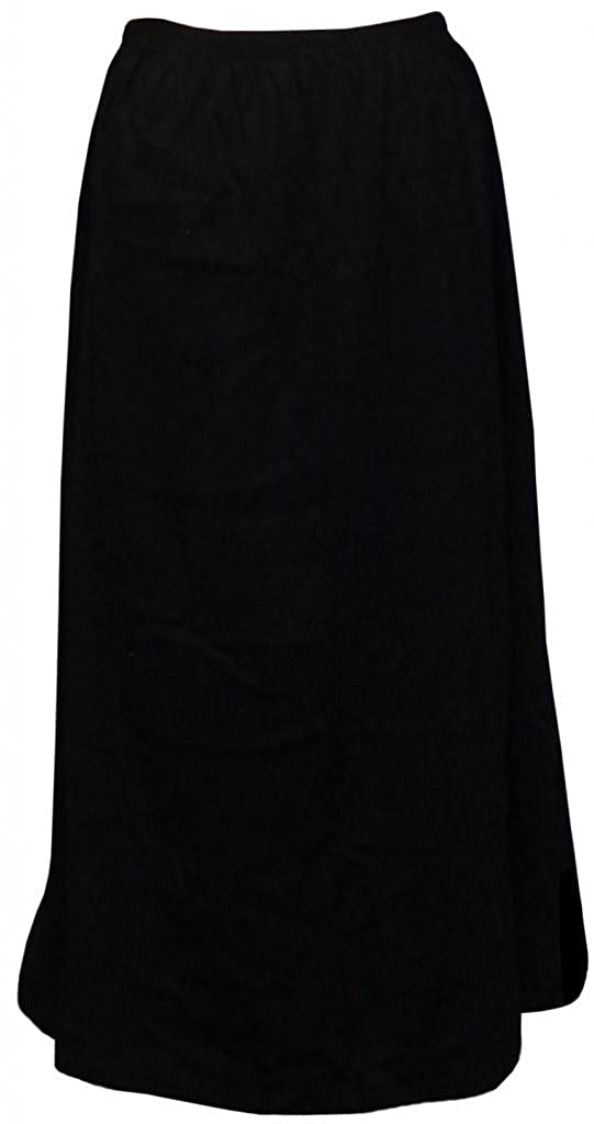 Women's Black Solid Cotton Plus Size Supersize Skirt SK-BLACK-COTTON