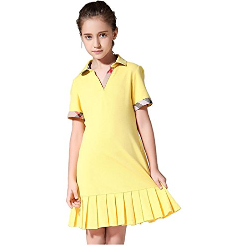 Vintage Sailor Uniforms (MIQI Girls School Uniform Polo Dress Tennis Shirtdress Yellow 6 Years Old)