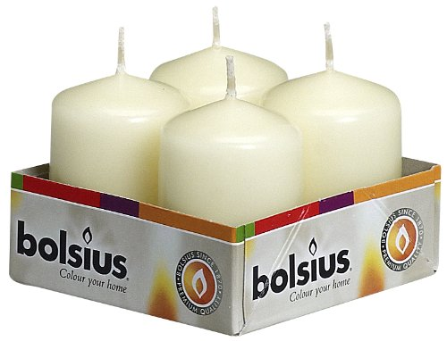(Bolsius Tray Of 4 Small Ivory Pillar Candles 60x40 mm Aprox (2.25x1.5 inch) Great For Parties Weddings & All Events)