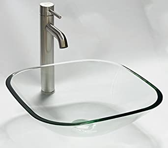 Nice ELIMAXu0027S 1/2u0026quot; Thick Clear Square Glass Vessel Sink + Brushed Nickel  FaucetN3 +