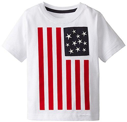 Kitestrings Little Boys' Toddler Boy's American Flag Cotton Jersey Tee, White, 3T