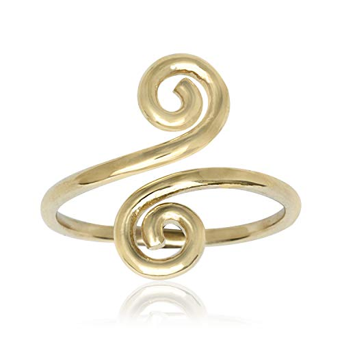 JewelryWeb Curata Solid 10K Yellow or White Gold Adjustable Swirl Art Deco Toe Ring (10mm x 18mm) (Yellow-Gold)