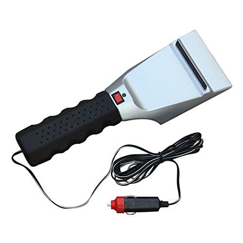 Cozytek Snow Shovel 12V Car Heatable Dual-use Ice Scraper Car Cigarette Lighter Snow Shovel Roadway Safety Auto Windshield Cleaning Tools(Silver+Black) Golden Stainless Steel Windshield