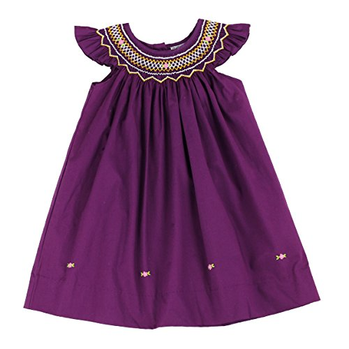 sissymini - Infant and Toddlers Poloma Oliver's Soft Hand Smocked Angel Sleeve Dress in Rich Purple 12M