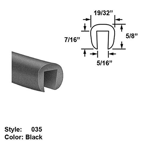 Neoprene Rubber U-Channel Push-On Trim, Style 035 - Ht. 5/8'' x Wd. 19/32'' - Black - 25 ft long
