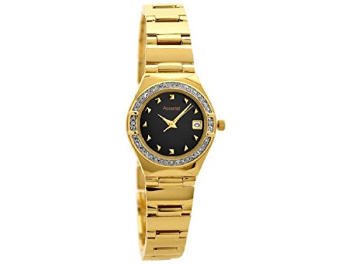 Accurist LB1660B Womens Gold Plated Black Mother Of Pearl Dial Stone Set Watch